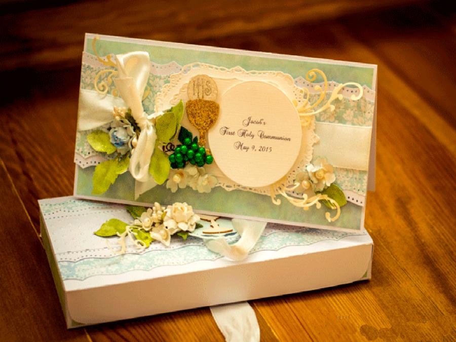Kartka komunijna z pudełkiem dla chłopca- komplet z pudełkiem