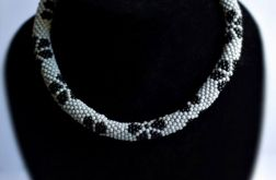 Naszyjnik koralikowy szaro-czarny