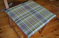 Poduszka na krzesło,siedzisko- oliwkowa krata