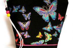 kosmetyczka - kolorowe motyle - czarna M