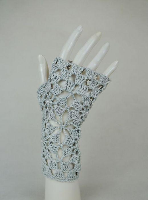 Rękawiczki, mitenki popielate - Modne rękawiczki