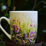 kubek ręcznie malowany, kwiaty dla mamy -