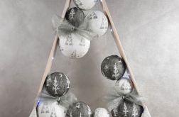 Drewniana choinka LED Biało – Popielata