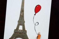 Paryż - kartka ręcznie projektowana/ rysowana