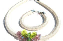 Naszyjnik z korali szklanych z bransoletką Anjika