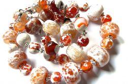Pomarańczowo żółty agat smoczy, zestaw biżute