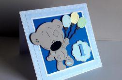 Kartka na Roczek z misiem niebieska