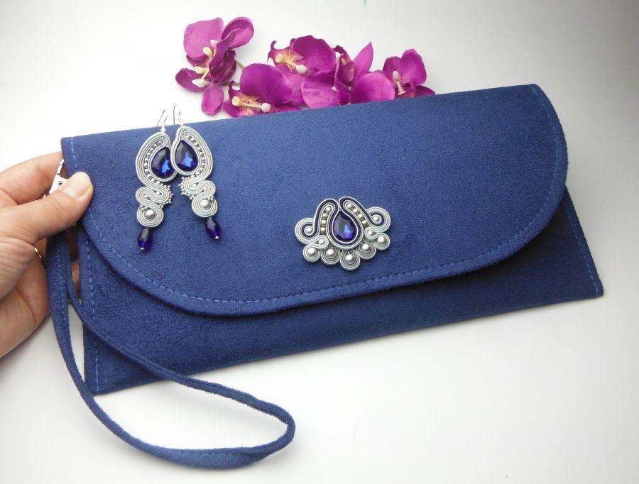63582247247e4 Komplet biżuterii torebka kopertówka zamsz - Soutacheria