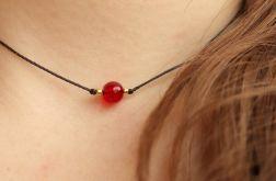 Naszyjnik, bransoletka z czerwonym kamyczkiem
