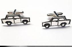 Srebrne spinki do mankietów samochód Trabant
