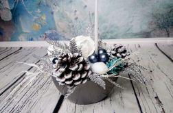 Stroik świąteczny srebrny biały niebieski