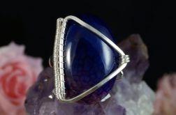 Srebrny pierścionek z agatem dragon wire