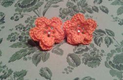 Pomarańczowe kwiatki szydełkowe- kolczyki