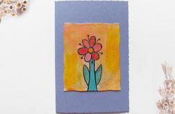 Kartka uniwersalna fioletowa z kwiatkiem 2