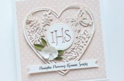 Pamiątka Komunii hostia z sercem różowa
