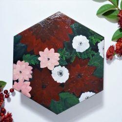 Szkatułka bordowe kwiaty