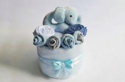 MINI Tort wyprawkowy - szaro-niebieski