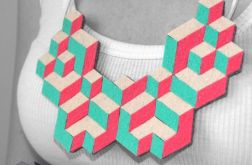 Geometryczny różowo-miętowy naszyjnik z filcu