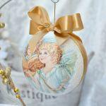 Bombka ze zdjęciem - złota z aniołkami - estetyczna wstążka