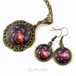 Komplet Vintage Flower - medalion / kolczyki