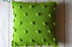 dziergana poszewka zieleń wraz z poduszką