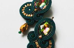 Zielono-złote kolczyki z kryształkami