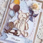 Kartka Vintage BOY urodzinowa z misiem GOTOWA -