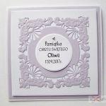 Kartka PAMIĄTKA CHRZTU biało-fioletowa #1 /Z - Biało-fioletowa kartka na Chrzest