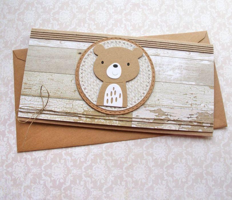 miś Rustykalny - kartka kopertówka