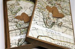 Kartka ślubna dla podróżników z mapą 2