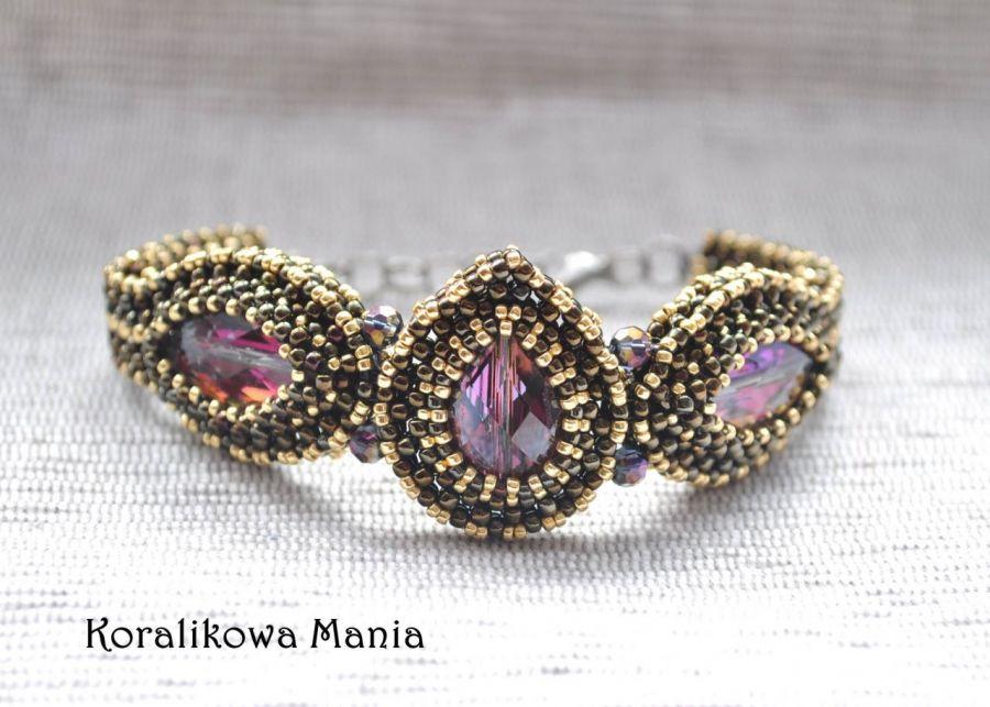 Fioletowe kryształki - bransoletka