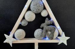 Drewniana choinka hand made z reniferem led