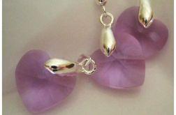 Liliowe kryształki w srebrze, wisorek i kolczyki, serduszka