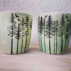 Zestaw doniczek ceramicznych - las