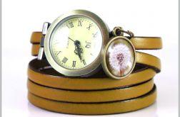 Bransoletka, zegarek - Dmuchawiec - musztardowy, skórzany