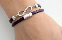 Infinity bransoletka śliwkowa skóra