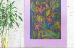 Rysunek kwiaty na fioletowym  tle nr 16 szkic