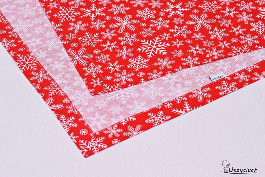 Bieżnik świąteczny bawełniany śnieżki red