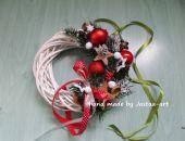 Świąteczny wianek, stroik 20cm - czerwień