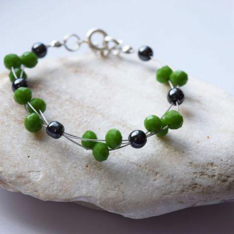 Kryształki zielone,hematyt-bransoletka