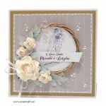 Kartka ślubna szara wianek ręcznie robiona - Kartka ślubna z wiankiem