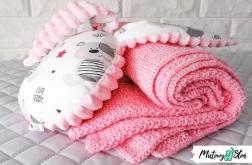 Dziergany kocyk dziecięcy i przytulanka ~ róż