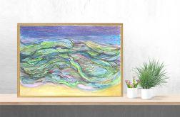 Oprawiony obraz morze rysunek abstrakcja