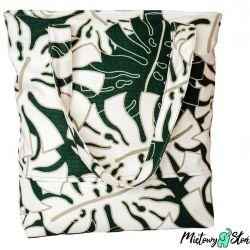 City Bag ~100%bawełna ~ Monstera green&cream
