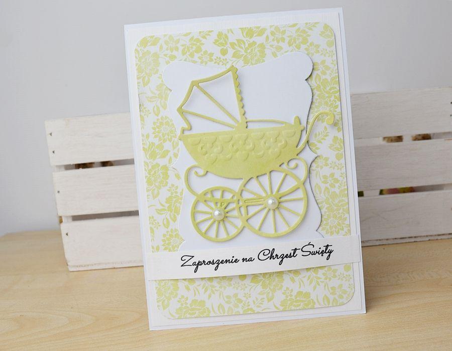 ZAPROSZENIA z wózeczkiem - ecru/zieleń