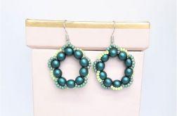 Kolczyki perłowe - szmaragd