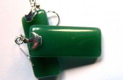 Chalcedon zielony, prostokąty,srebro,kolczyki