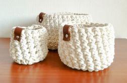 Koszyk ze sznurka bawełnianego kremowy,rozm.S