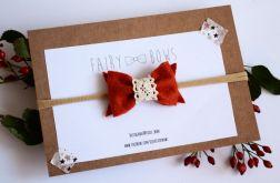 FairyBows opaska ruda kokardka