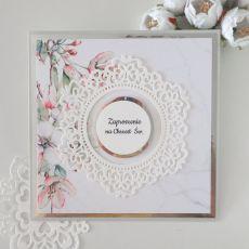 Zaproszenia na chrzest - marmurek i kwiaty